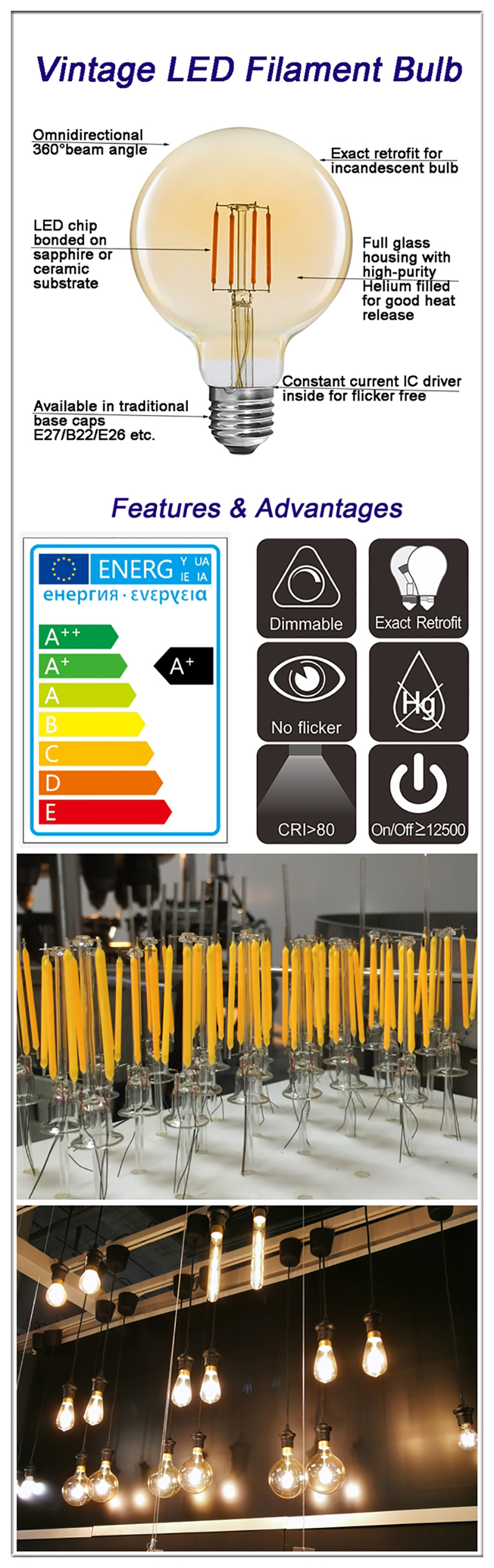 China G125 LED filament bulbs OEM