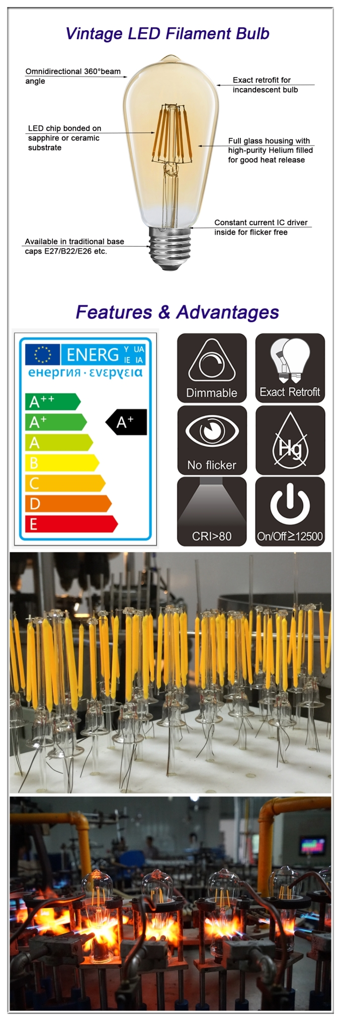 China ST58 LED filament bulbs supplier