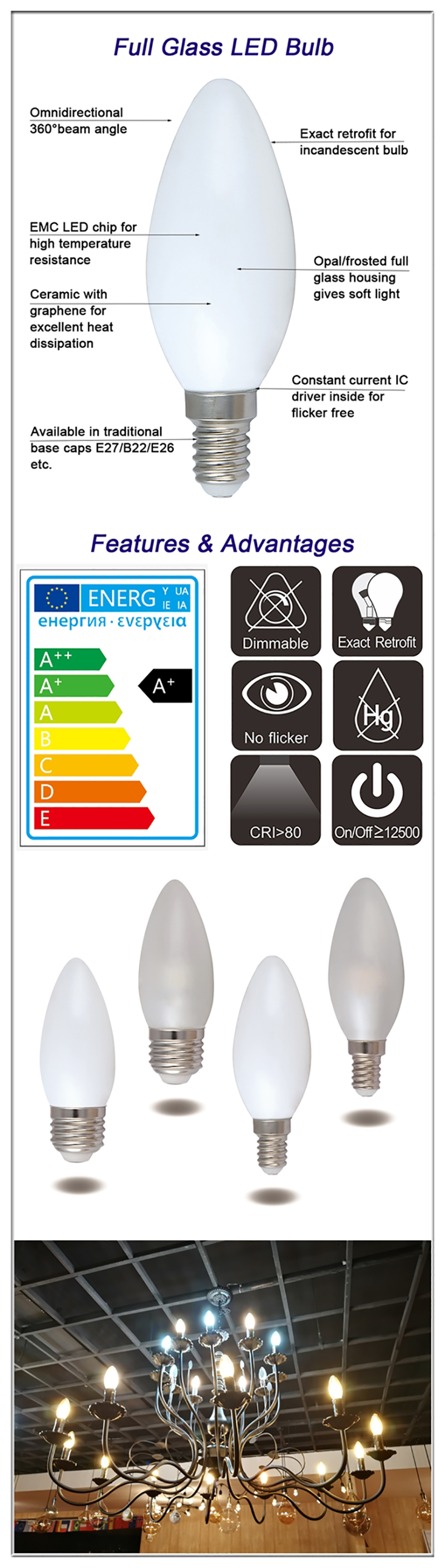 LED Candle C35 bulbs details