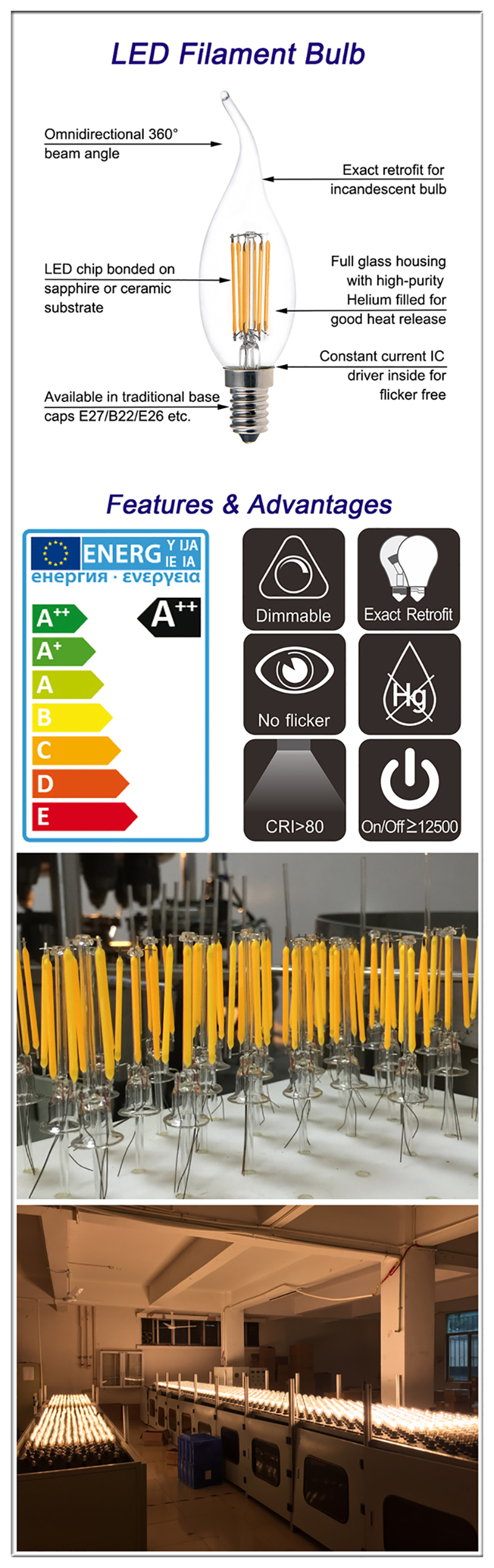 CA35 LED Filament Bulb supplier