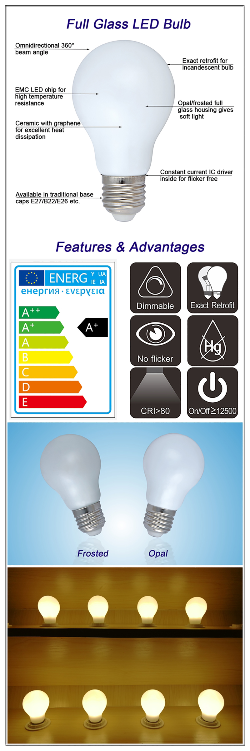 full Glass LED light bulbs made in China
