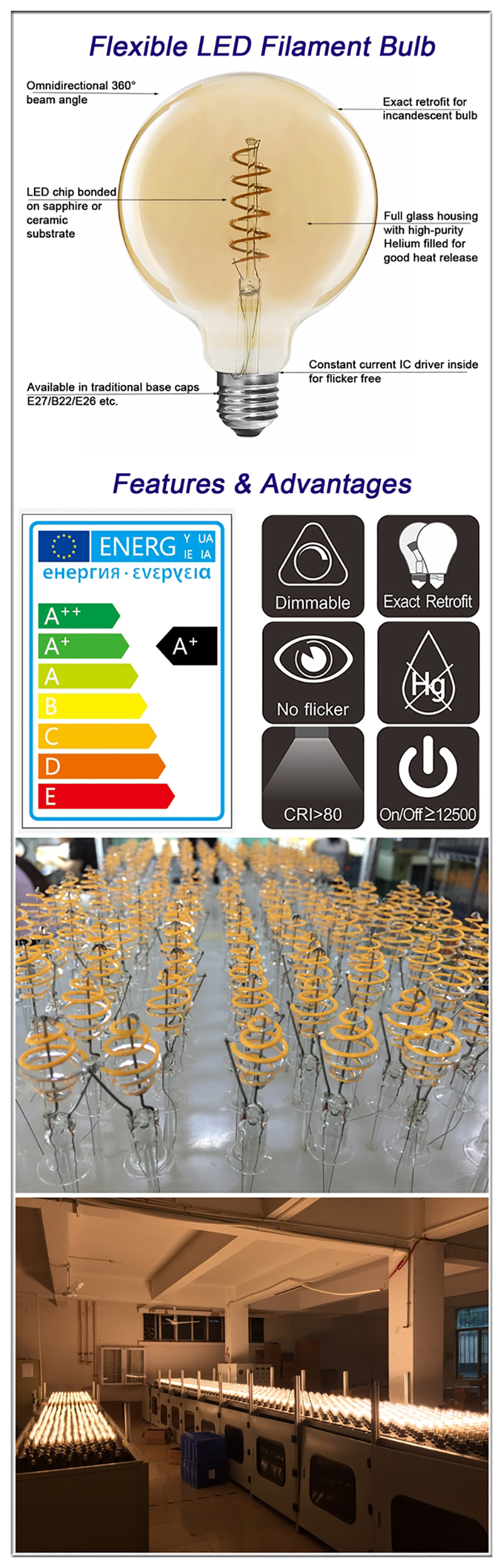 China flexible filament LED bulbs details