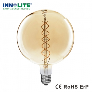 Dimmable G300 curved double spiral LED filament bulb, China double spiral filament bulbs supplier, double spiral filament bulbs supplier in china