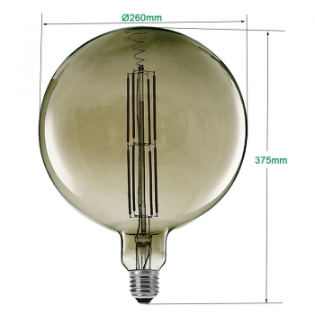 Globe 260mm filament LED bulbs dimmable, Giant LED Filament bulbs 12W, OEM Edison LED bulbs supplier China