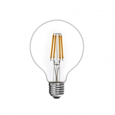 Clear Glass G125 Globe LED Filament Light Bulb 7W