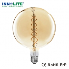 China Dimmable G300 curved double spiral LED filament bulb, China double spiral filament bulbs supplier, double spiral filament bulbs supplier in china factory