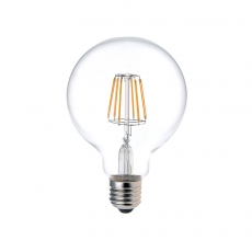 Round G125 8W Long Filament LED Light Bulb